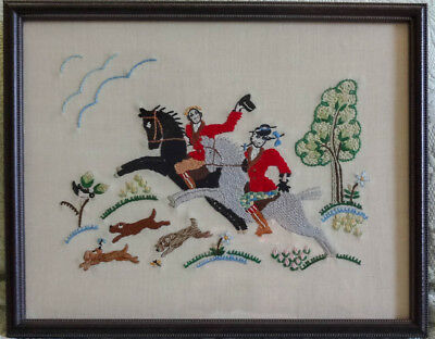 Antique Vintage Embroidery Sampler Fox Hunting Equestrian Horses