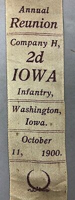 1900 GAR Reunion Ribbon Company H 2d IOWA INFANTRY Washington CIVIL WAR Antique