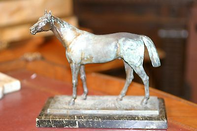 """Antique French Patinated Spelter Statue Figurine Horse Signed """" Shibellin """" 19C"""