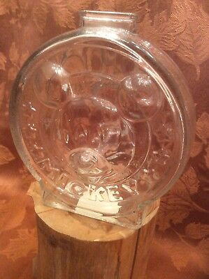 The Walt Disney Company Mickey And Minnie Glass Piggy Bank Anchor Hocking Glass