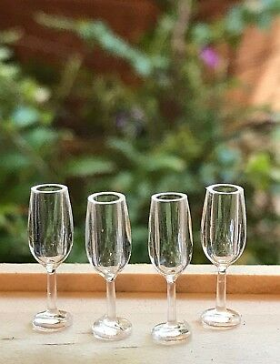 Miniature Dollhouse FAIRY GARDEN ~ Set / 4 TINY Plastic Champagne Glasses Flutes