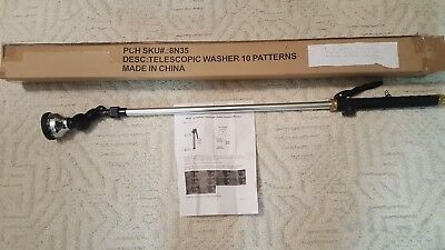 Gutter Flusher/washer, Sprayer - 10 Pattern Telescopic - Attaches To Garden Hose