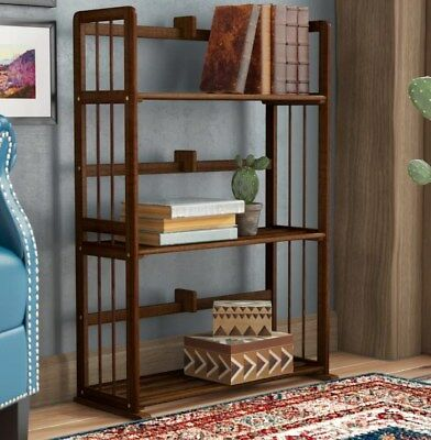 Solid Wood Bookcase Small Shelving Unit Display Storage Shelf Vintage Cabinet
