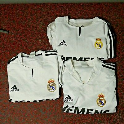 Lot of 3 Vintage ADIDAS REAL MADRID Jerseys - RAUL - BECKHAM - Mens Large