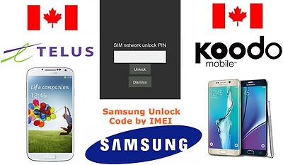 TELUS / KOODO Unlock Code Available for All Samsung Models (S,J,NOTE ALL SERIES)