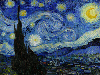 Starry Night Vincent Van Gogh HD Canvas Painted Oil Painting Wall Decor No Frame