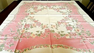 Vintage FLORAL Printed Tablecloth BEAUTIFUL Muted Colors Excellent Condition A55