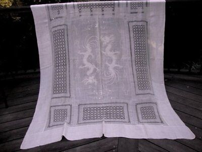 Antique Vintage Ecru Tea Color Linen Cotton Tablecloth Chinoiserie Embroidered