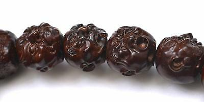 Chinese Coconut Hediao Carved 19 Louhan Buddha Head Prayer Rosary Bead Bracelet