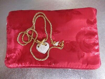 Vintage Genuine Swarovski Crystal Pave Puffy Heart Love Pendant Necklace w/Swan