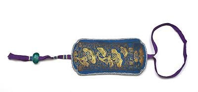 Old Chinese Silk Embroidery Gold Threads Eye Glasses Pouch Purse Bag Glass Bead