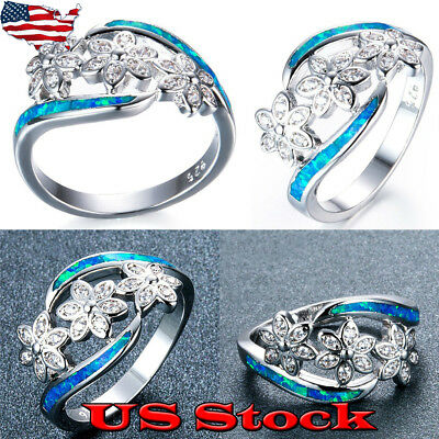 925 Sterling Silver Opal Diamond Flower Ring Women Fashion Jewelry Size 6-10 USA