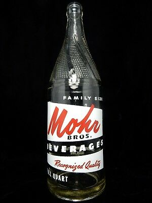 Vintage quart Mohr Bros Soda Pop Bottle Toledo OH 32 oz Ohio - Nice!