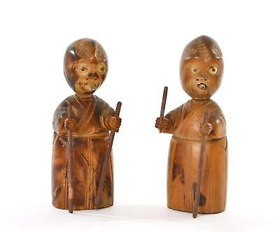 2 1930's Japanese Wood Carved Carving Kobe Toy Doll Figure Figurine