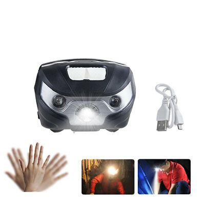 LED Sensor Head Torch Headlight Lamp Camping Induction Headlamp USB Rechargeable