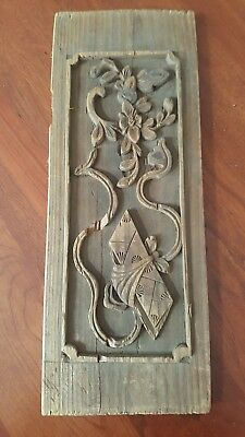 Antique Wood Furniture Panel Hand Carved Art 1790's