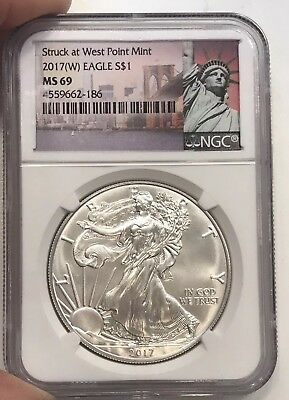 2017-W American Silver Eagle $1 Coin NGC MS 69 -Statue of Liberty Label