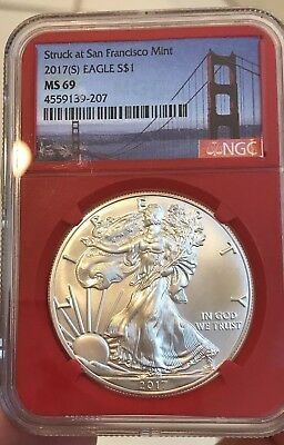 2017(S) American Eagle Silver Dollar $1 - NGC MS-69 1 Troy Ounce- Red Holder