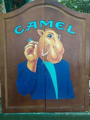 "Vintage CAMEL CIGARETTES ""JOE'S PLACE"" DART BOARD With WOODEN CABINET 25"" x 20"""