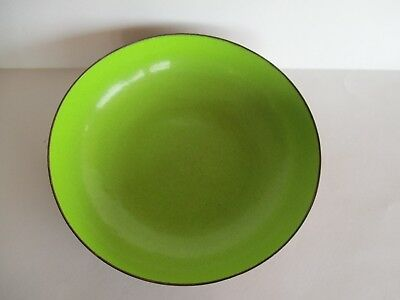 Mid Century Mod Chartreuse Lime Green Enamel on Copper Candy Dish Bowl Signed YY