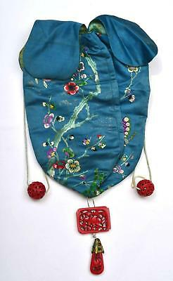 1930's Chinese Silk Embroidery Purse Pouch Kingfisher Carved Carving Bead Plaque