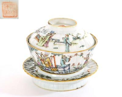Late 19C Chinese Famille Rose Porcelain Covered Tea Cup Bowl & Dish Figure Mk