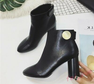 Womens British High Block Heels Round Toe Ankle Boots Party Dress Shoes Booties
