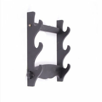 3 Layer Samurai Sword Katana Wakizashi Wall Mount Wood Holder Bracket Hanger AU
