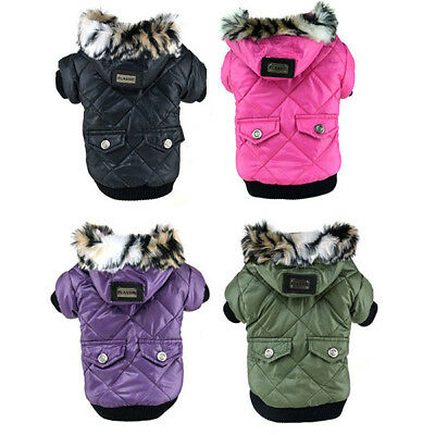 Pet Dog Cat Hoodie Winter Down Coat Puppy Warm Padded Jacket Costume Apparel US