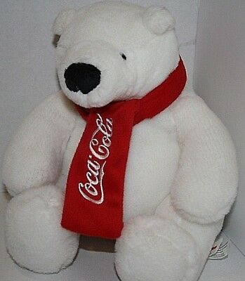 "Plush Coca Cola Teddy Bear White Logo Bear Red Scarf Sits 9"" Tall"
