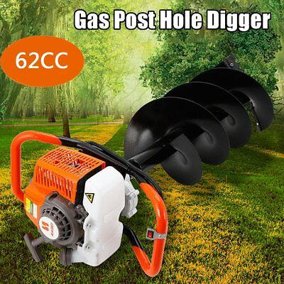 """Gas Powered Earth 62CC Auger Power Engine Post Hole Digger Head +4"""" Drill Bit MA"""