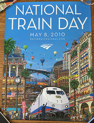 "NATIONAL TRAIN DAY MAY 8, 2010 poster 18"" x 24"" Amtrak"