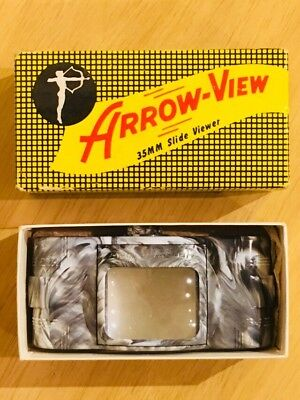 Arrow-View 35mm Film Illuminated Magnified Table Slide Viewer Marbled Art Deco