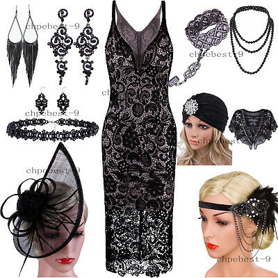 1920s Flapper Dress V Neck Spaghetti Straps Crochet Lace Embroidery Evening Gown