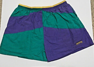 Vintage 90s Members Only Shorts Swim Trunks Suit L XL Color Block Green Purple