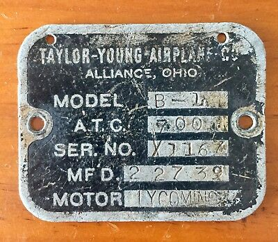 Data Plate Taylor-Young Airplane Co