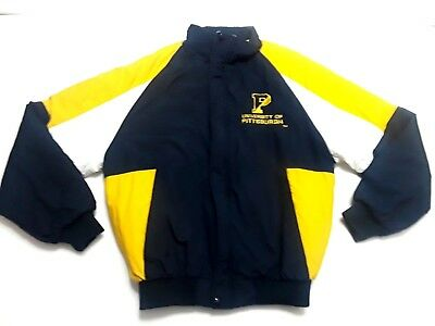 University Of Pittsburgh Panthers Mens Medium Quilted Jacket VTG 90s Color Block
