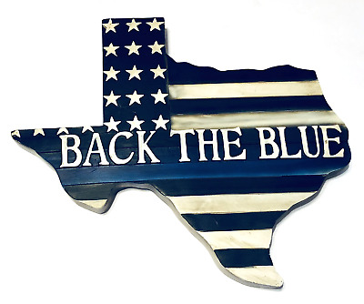 Texas Thin Blue Line Police Back The Blue Law Enforcement 11 1/2x10 inches New