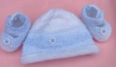 Beautiful Hand Knitted Booties/matching Hat/premmie/reborn/boys