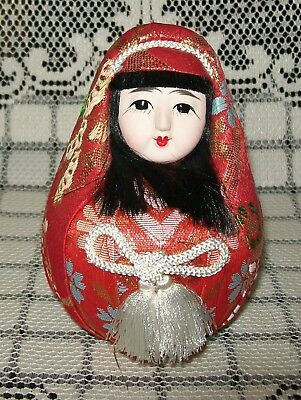 VINTAGE HAND PAINTED CERAMIC & FABRIC 'ROLY-POLY' JAPANESE GIRL DOLL 11.5cm