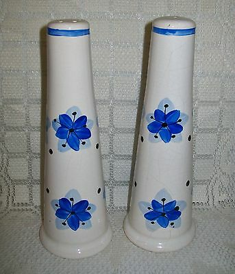 TALL, VINTAGE SHABBY CERAMIC HAND PAINTED SALT & PEPPER SHAKERS England 19.5cm