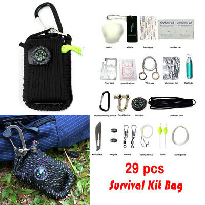 29 pcs Camping Outdoor Survival Emergency Tool Kit Pouch Portable SOS Hiking