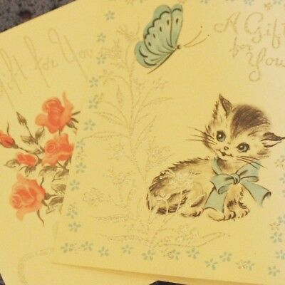 Vintage Mid Century Set of 2 A GIFT FOR YOU Mini Greeting Cards Kitten Roses