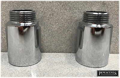 """Pair 3/4"""" Polished Chrome Extensions for Wall Mounted Shower Valve or Bath Tap"""