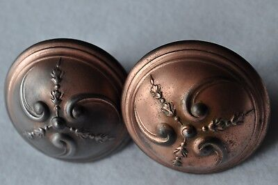 Pair of Vintage Door Knobs With Delicate Floral Design-Copper Over Steel