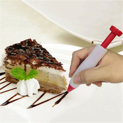 Chocolate Decorating Syringe Silicone Plate Paint Pen Cake Cookie Decor Pen EB
