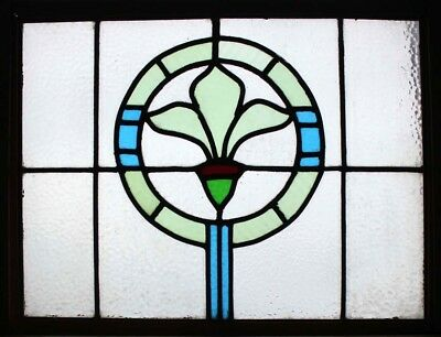 Art Deco Shamrock Fleur Di Lys Stained Glass Window
