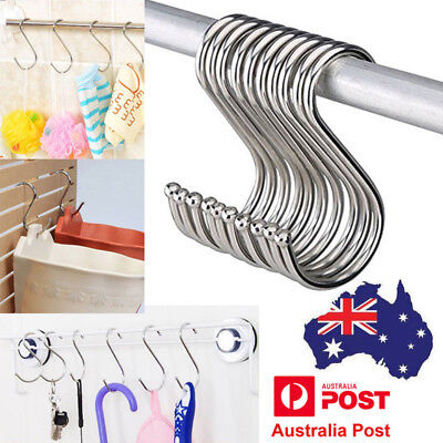 10pcs Stainless Steel S Shape Hooks Kitchen Hanger Rack Clothes Hanging Holders