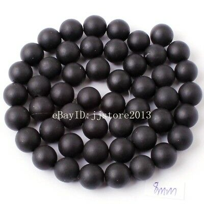 8mm Natural Frosted Black Agate Onyx Round Shape DIY Gems Loose Beads Strand 15""