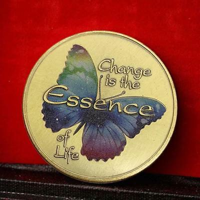 Colorful Butterfly Commemorative Round Coins Bitcoin Gold Plated Coins